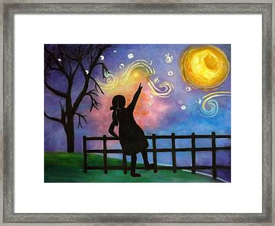 Under The Night Sky Girl Framed Print by Anny Huang