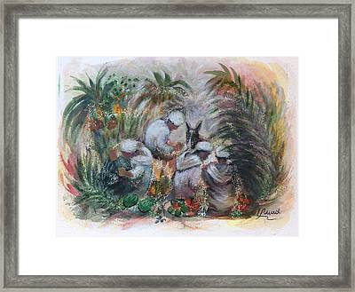 Framed Print featuring the painting Under The Palm Trees At The Oasis by Laila Awad Jamaleldin