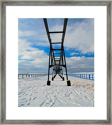 Under The Pier At Saint Joseph Michigan In Winter Framed Print by Dan Sproul