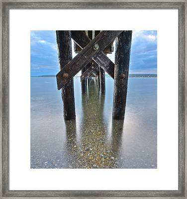 Under The Pier At Sunset Framed Print