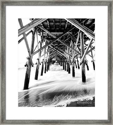 Under The Pier Folly Beach Framed Print