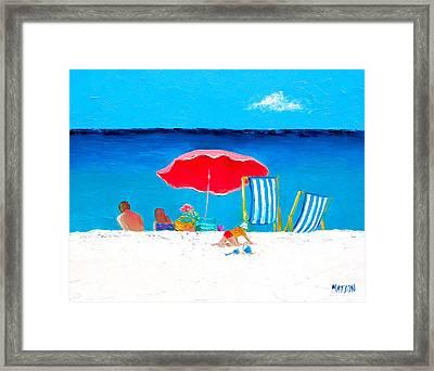 Under The Red Umbrella Framed Print by Jan Matson
