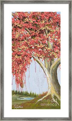 Under The Tree With Gold Leaf By Vic Mastis Framed Print by Vic  Mastis