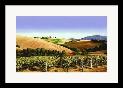 Pastoral Vineyard Paintings Framed Prints