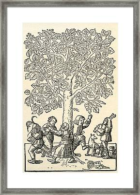 Under The Village Linden Tree, After A 16th Century Engraving By  Kandel.  From Illustrierte Framed Print by Bridgeman Images