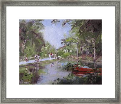 Under The Willows In The Crystal Bridges Pond Framed Print