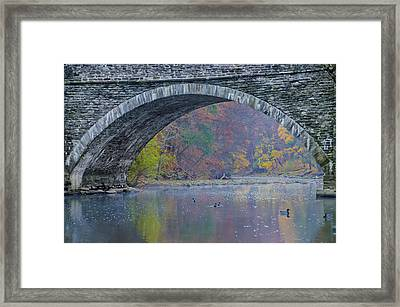 Under Valley Green Bridge In Autumn Framed Print by Bill Cannon