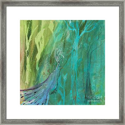 Framed Print featuring the painting Undercover Peacock by Robin Maria Pedrero