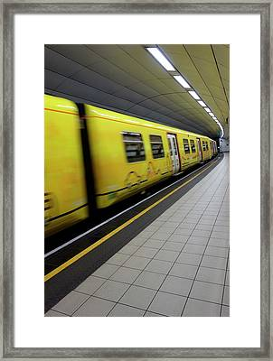 Underground Train And Platform Framed Print by Cordelia Molloy