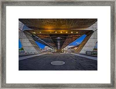 Underneath The Zakim Bridge Framed Print by Susan Candelario