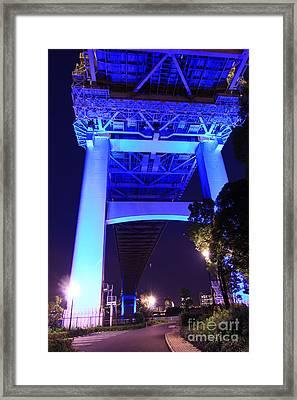 Underside Of The Rainbow Bridge In Tokyo Framed Print