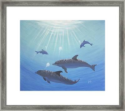 Underwater Dolphins Original Acrylic Painting Framed Print by Georgeta  Blanaru