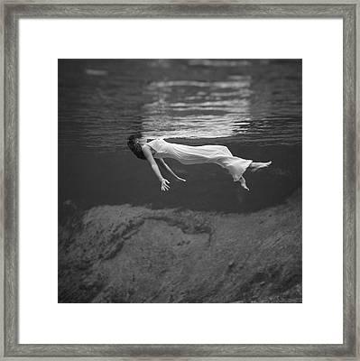 Underwater Fashion Shot Framed Print by Underwood Archives