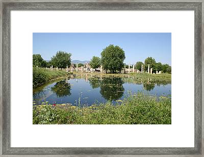 Underwater Remains Of The Portico Aphrodisias Framed Print by Tracey Harrington-Simpson