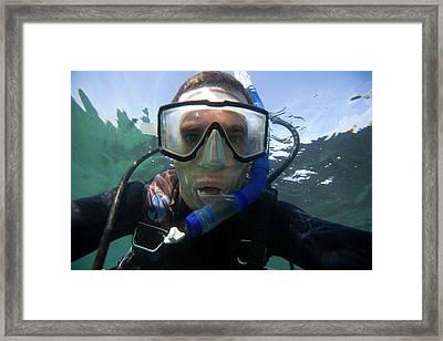 Underwater Self Portrait Of A Man Scuba Framed Print
