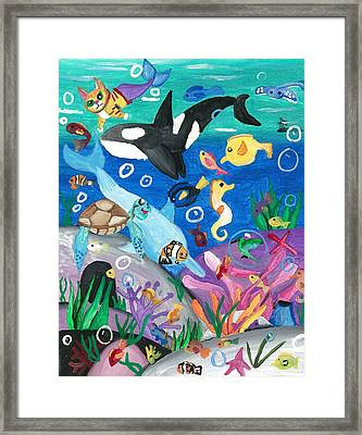 Underwater With Kitty And Friends Framed Print