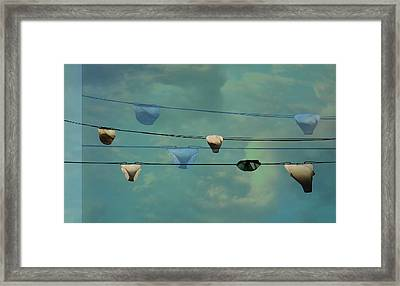 Underwear On A Washing Line  Framed Print