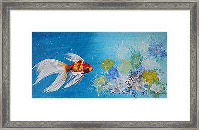 Undewater Beauty Original Acrylic Painting Framed Print by Georgeta  Blanaru