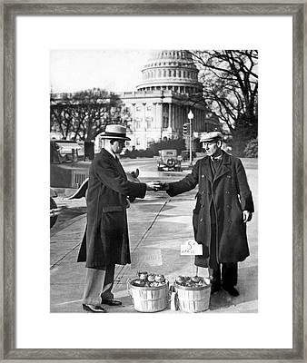 Unemployed Man Sells Apples Framed Print by Underwood Archives