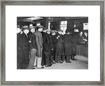 Unemployed Queue In London Framed Print by Underwood Archives