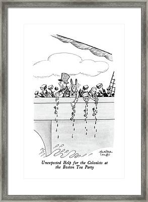Unexpected Help For The Colonists At The Boston Framed Print by J.B. Handelsman