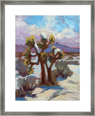 Unexpected Snowfall At Joshua Tree Framed Print by Diane McClary