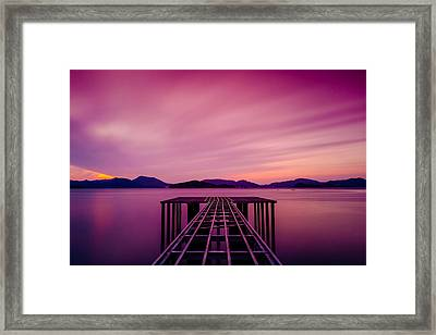 Unfinished Pier At Sunset Framed Print