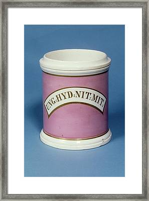 Unguent Jar Framed Print by Science Photo Library