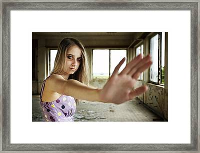 Unhappy Girl Showing Stop Framed Print by Radka Linkova