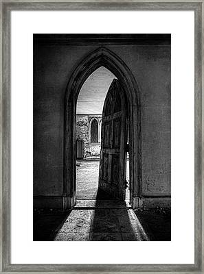 Unhinged - Old Gothic Door In An Abandoned Castle Framed Print by Gary Heller