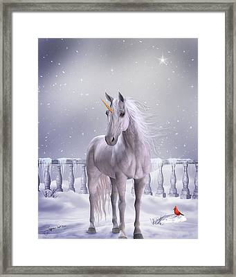 Framed Print featuring the digital art Unicorn In The Snow by Jayne Wilson