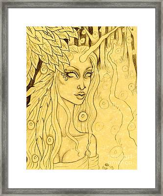 Unicorn In The Woods Sketch Framed Print by Coriander  Shea