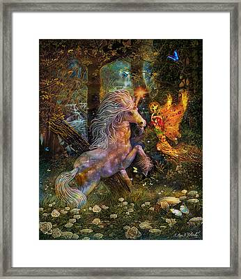 Unicorn King-angel Tarot Card Framed Print by Steve Roberts