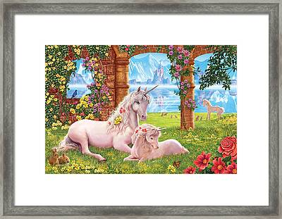 Unicorn Mother And Foal Framed Print by Steve Crisp