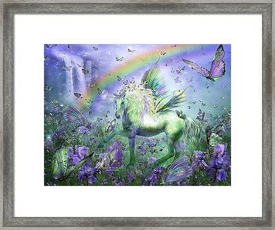 Unicorn Of The Butterflies Framed Print by Carol Cavalaris