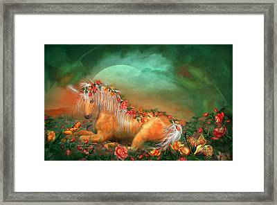 Unicorn Of The Roses Framed Print