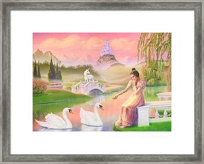 Unicorn Princess Swans On Lake Framed Print by Andrew Farley