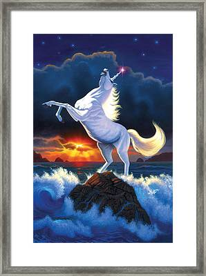 Unicorn Raging Sea Framed Print