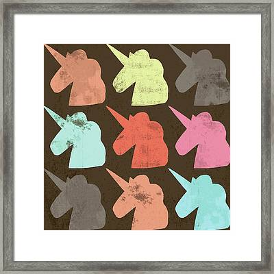 Unicorn Silhouettes I Framed Print by Lisa Barbero