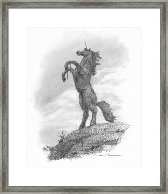 Unicorn Statue Pencil Portrait Framed Print by Mike Theuer