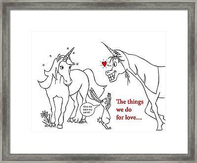 Unicorn Valentines Card Framed Print