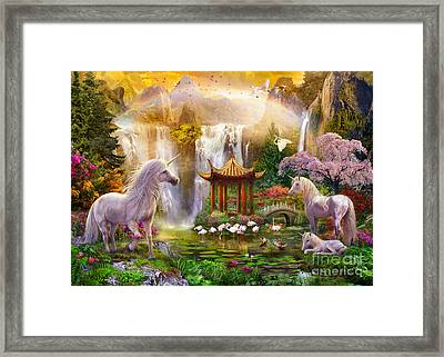 Unicorn Valley Of The Waterfalls Framed Print by Jan Patrik Krasny