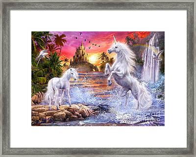 Unicorn Waterfall Sunset Framed Print