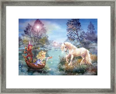 Unicorns Lake Framed Print by Zorina Baldescu