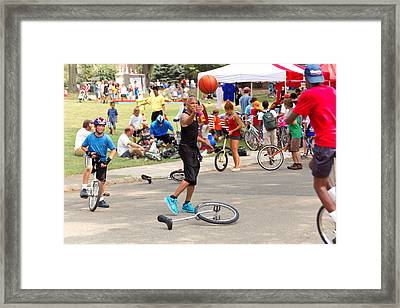 Unicyclist - Basketball - Street Rules  Framed Print by Mike Savad