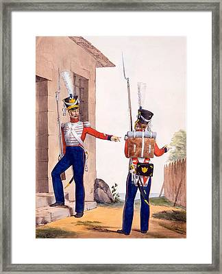 Uniform Of The 8th Infantry Regiment Framed Print by Charles Aubry