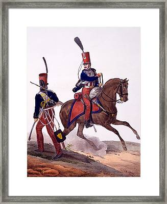 Uniforms Of The 5th Hussars Regiment Framed Print by Charles Aubry
