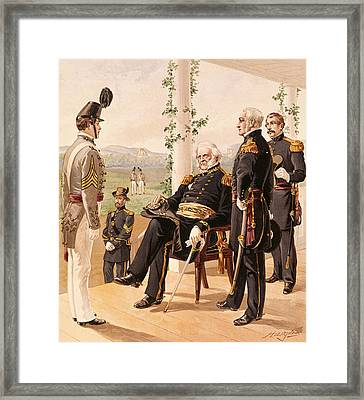 Uniforms Of The American Army, 1858-61, Published By G.h. Buek And Company, 1885 Colour Litho Framed Print