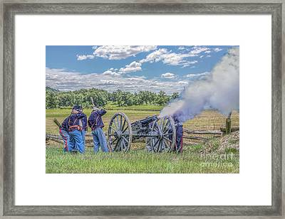Union Artillery In Action Framed Print