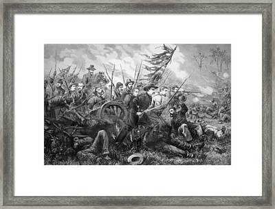Union Charge At The Battle Of Gettysburg Framed Print by War Is Hell Store